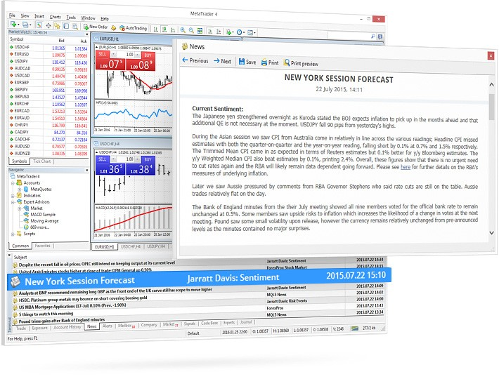 The financial news line in MetaTrader 4 is your guide in the world of financial trends