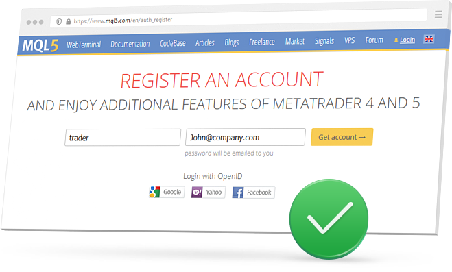 Create an MQL5.community account to be able to subscribe to a signal and start copy deals in realtime