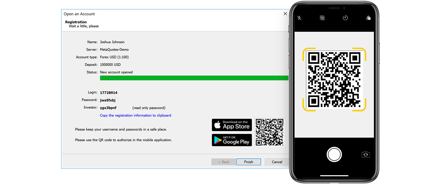 Connect to MetaTrader 5 accounts using QR codes