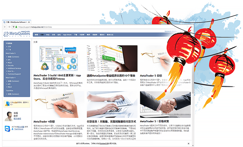 Technical support website for MetaTrader platforms is now available in Chinese