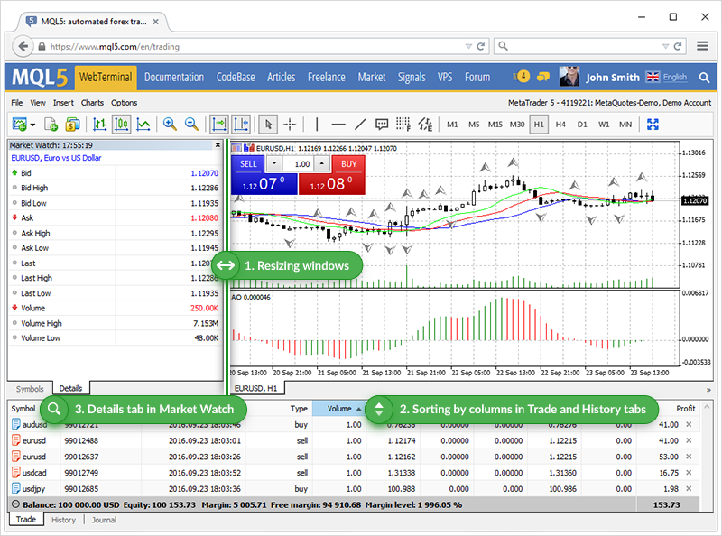 MetaTrader 5 web platform is now faster and more convenient