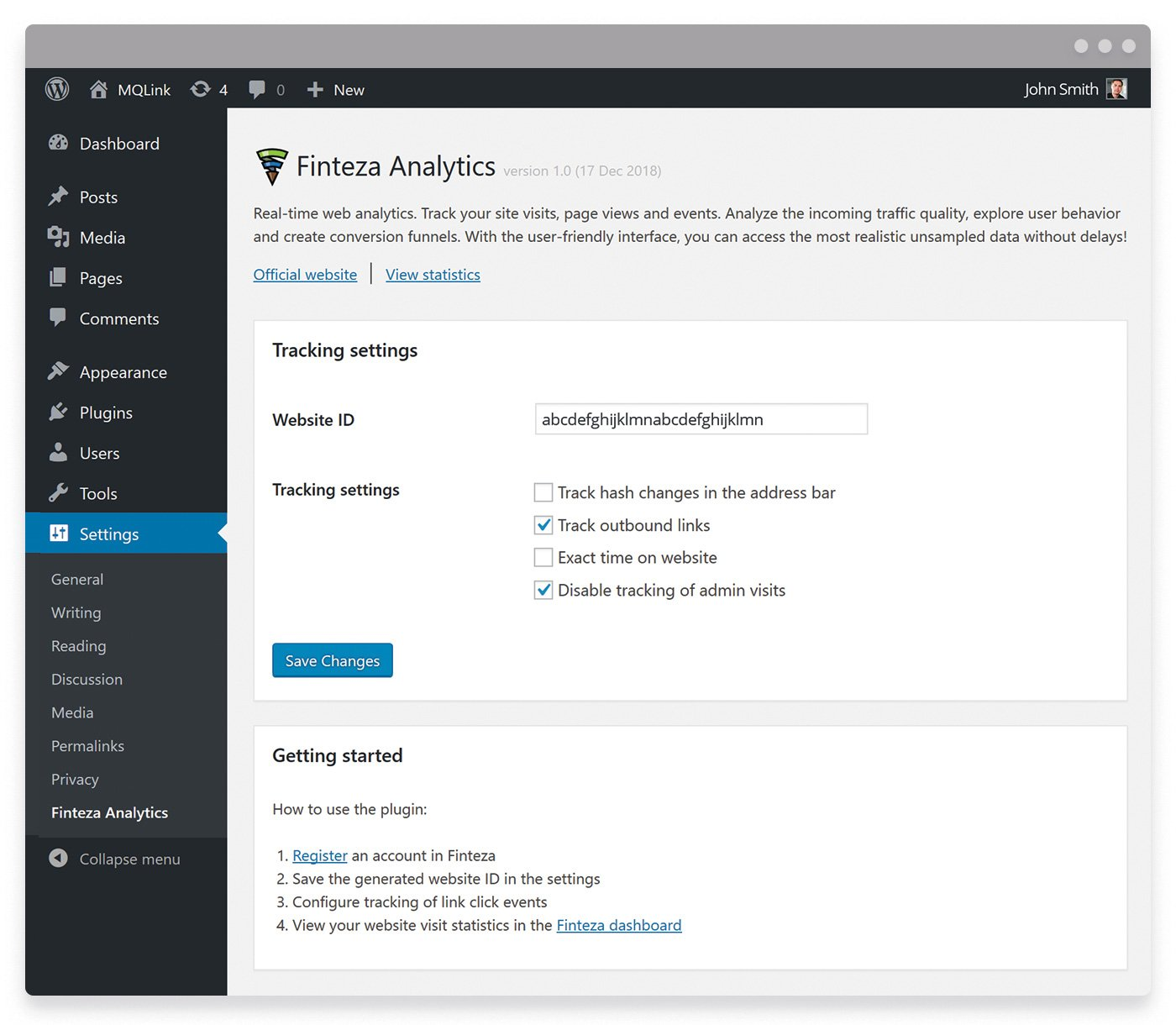 Finteza Analytics section in the Settings page