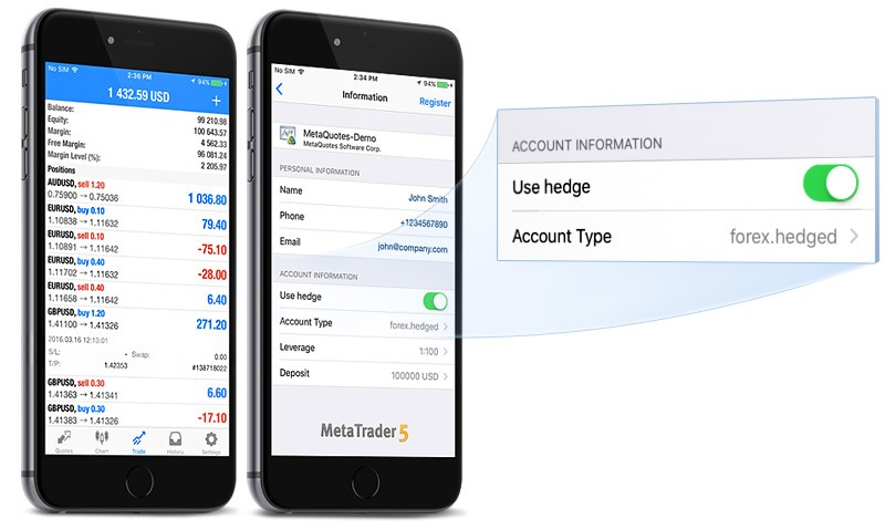 MetaTrader 5 iOS build 1261 with hedging available on the App Store