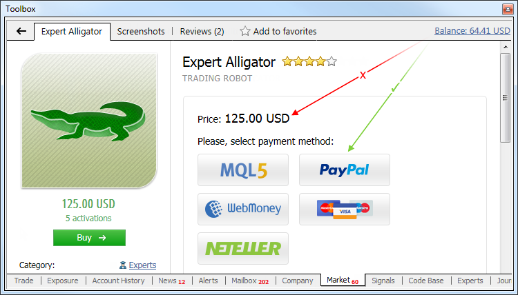Top-up your MQL5.com-account directly form MetaTrader 4