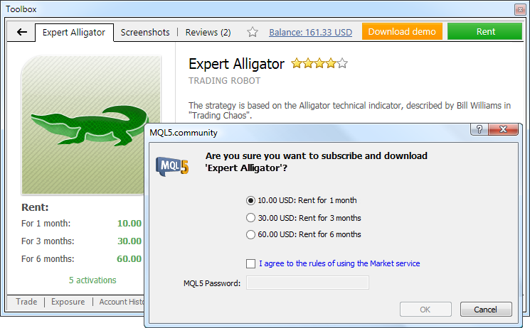 Rent an application directly from MetaTrader 4 Trading Platform