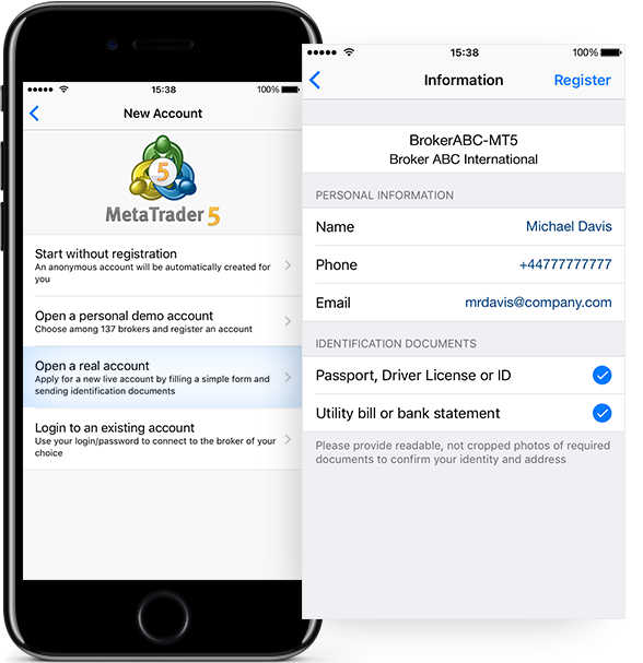Simplified request to open a real account in MetaTrader 5 iOS build 1605