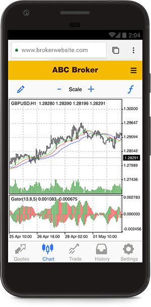 31 technical indicators available in the MetaTrader 5 mobile web platform
