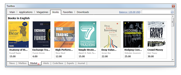 Books Section of MetaTrader Market Offers 40 Books About Trading
