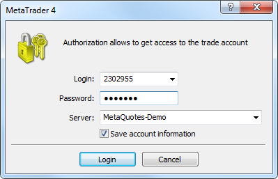 Authorization - Getting Started - MetaTrader 4 Help