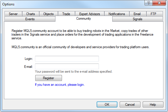 Registration of MQL5.community account