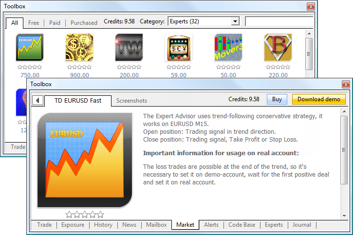 Market - a store of applications for MetaTrader 5