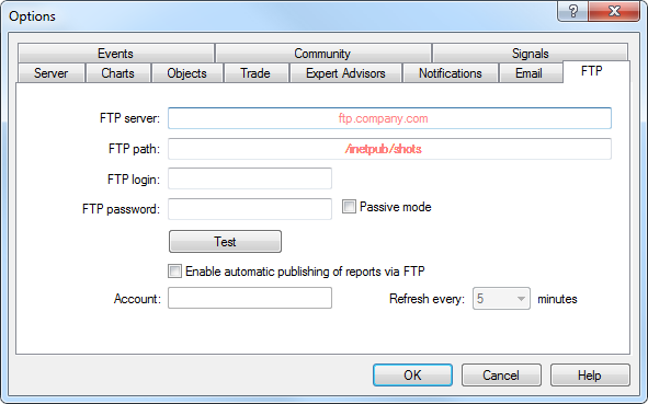 FTP - Client Terminal Settings - MetaTrader 4 Help