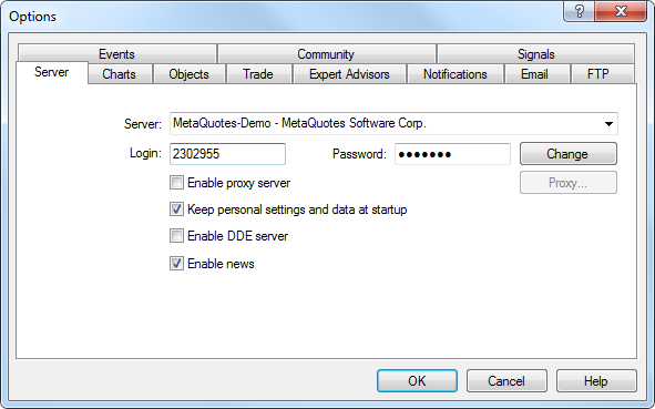 Server - Client Terminal Settings - MetaTrader 4 Help