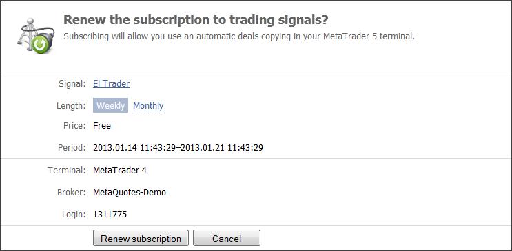 Signal Subscribers - Signals - MetaTrader 4 Help