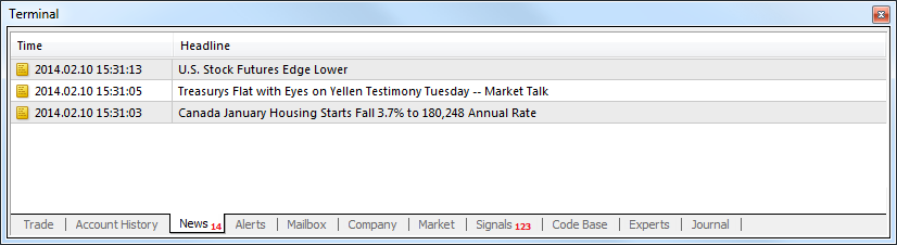 News - Terminal - User Interface - MetaTrader 4 Help