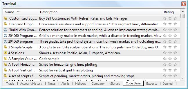Code Base - Terminal - User Interface - MetaTrader 4 Help