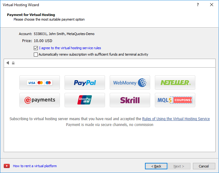Paying for virtual hosting straight from the payment systems